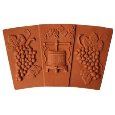 Terracotta centrálný klenbový kus, trojdielny