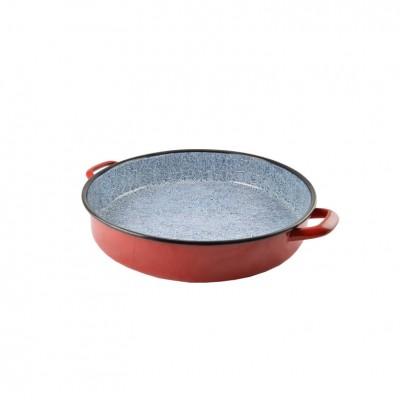 53068 Pekač okrúhly červený smaltované s uškami 40 cm PERFECT HOME